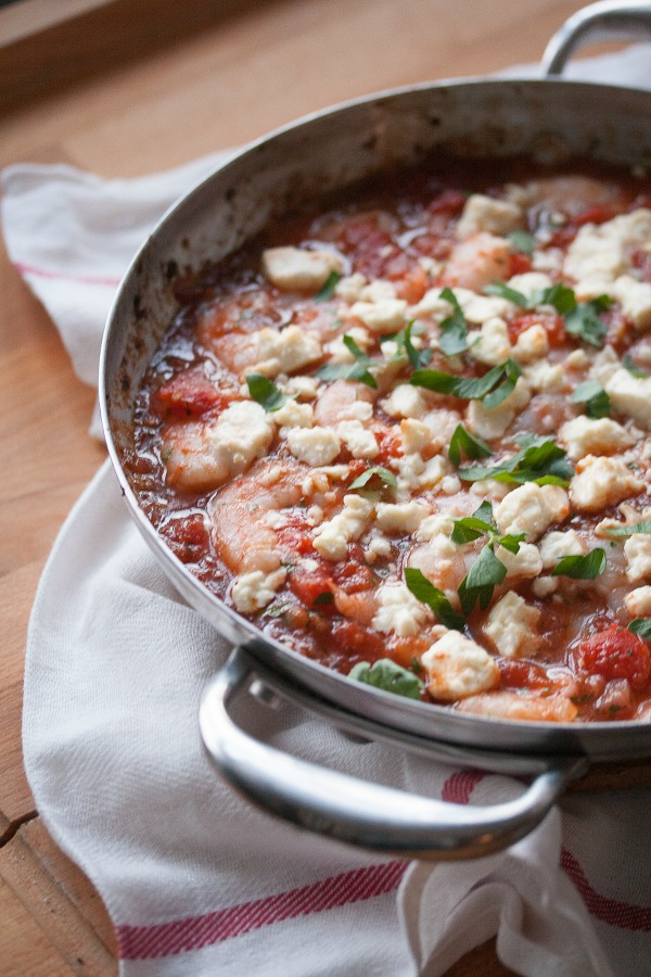 Made with succulent shrimp, saucy tomatoes, bold Mediterranean spices and briny feta all baked together until bubbly and melty and delicious.