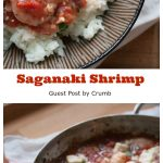 This Saganaki Shrimp recipe is made with succulent shrimp, saucy tomatoes, bold Mediterranean spices and briny feta all baked together until bubbly and melty and delicious.