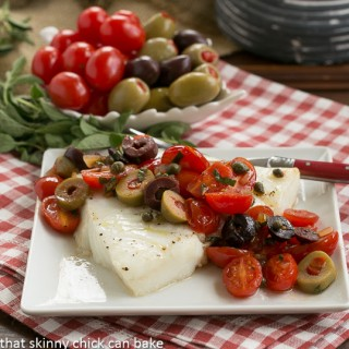 Sea Bass with Tomatoes, Olives and Capers | Guest Post by That Skinny Chick Can Bake | Simple, classic and easy to prepare!