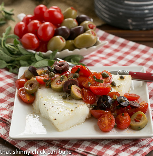 Sea Bass with Tomatoes, Olives and Capers