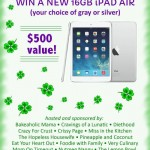 16 GB iPad Air Giveaway, your choice or gray or silver| Stop by cravingsofalunatic.com to enter NOW!