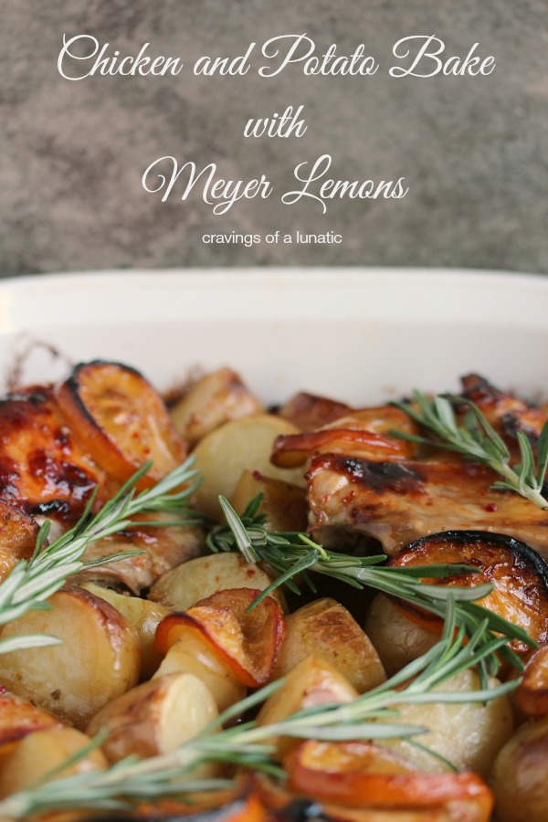 Chicken and Potato Bake with Meyer Lemons in a white casserole dish, fresh rosemary is on top