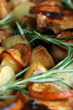 Chicken and Potato Bake with Meyer Lemons with fresh rosemary over top