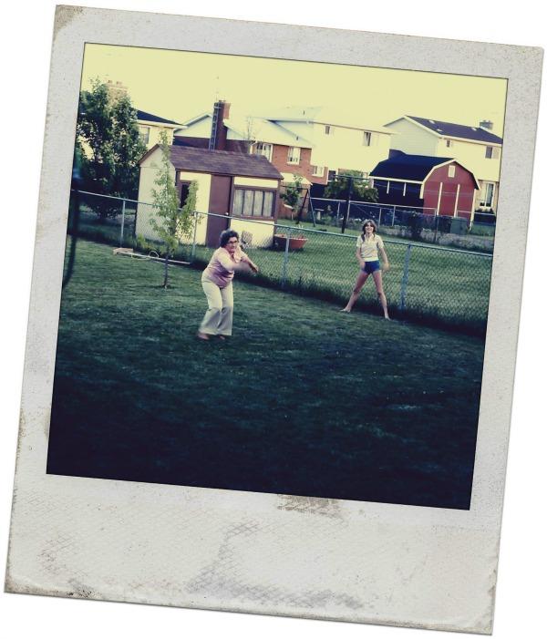 Kim and Gramma playing baseball