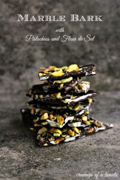 Marble Bark with Pistachios and Fleur de Sel stacked on a counter.