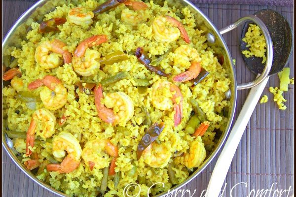 Shrimp and Asparagus Biryani by Curry and Comfort featured on Cravings of a Lunatic
