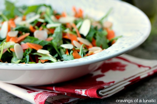 Arugula Salad with Shaved Carrots, Shaved Asparagus and Almonds | Simple, elegant and delicious!