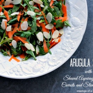 Arugula Salad with Shaved Carrots, Shaved Asparagus and Almonds   Simple, elegant and delicious!