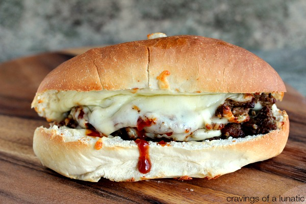 Steak Sandwich | Amazing steak sandwich layered with caramelized onions, mozzarella cheese and barbecue sauce.