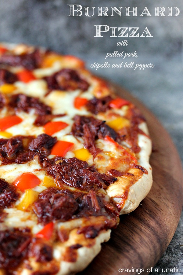 Burnhard Pizza with Pulled Pork, Chipotle and Bell Peppers | This pizza has some serious kick, just the way we like it here.