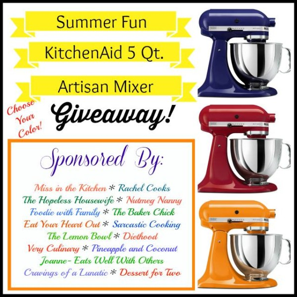 KitchenAid Stand Mixer Giveaway on Cravings of a Lunatic | Open to U.S. and Canada. Check blog for more details and enter today!