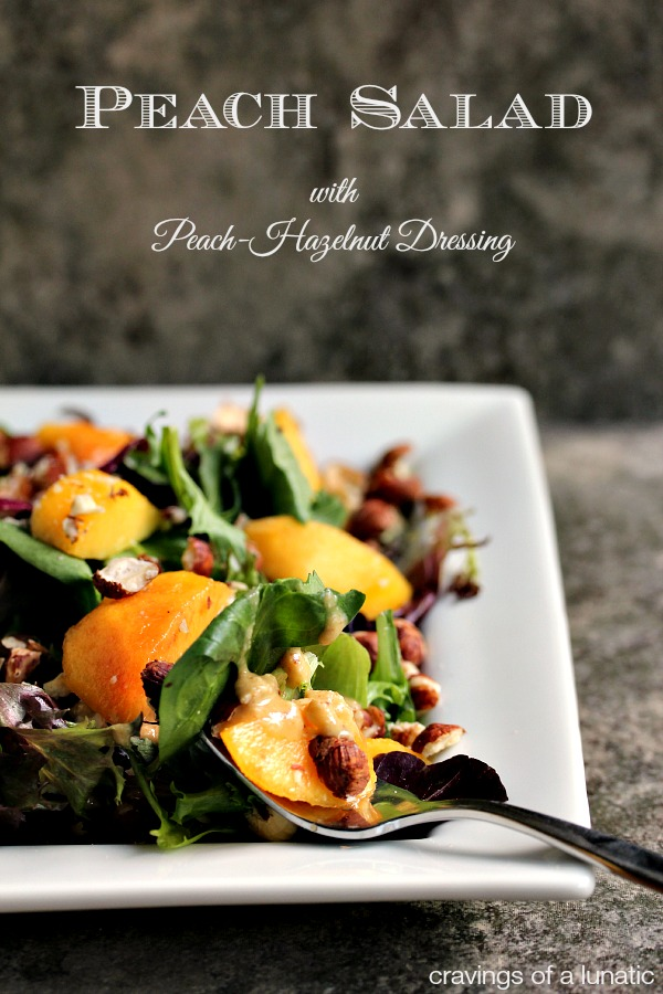 Peach Salad with Peach and Hazelnut Dressing | This simple salad is perfect for summer!