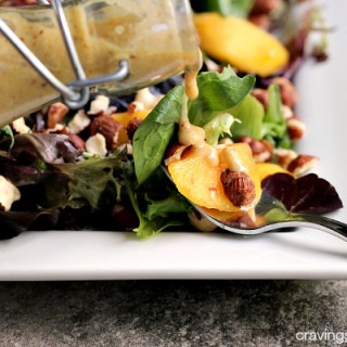 Peach Salad with Peach and Hazelnut Dressing   This simple salad is perfect for summer!