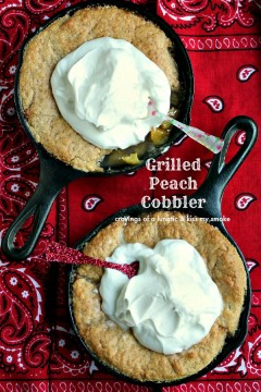 Grilled Peaches and Cream Cobbler from cravingsofalunatic.com- Fresh peaches combined with a cream-based cobbler topping, with fresh whipped cream piled on top for a rustic grilled dessert!