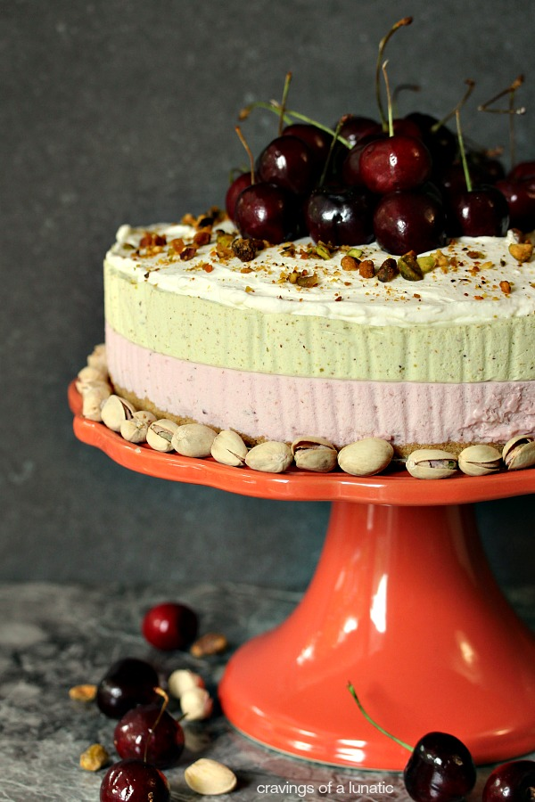 Cherry and Pistachio No Bake Cheesecake with Animal Cracker Crust   This recipe will impress your friends and family. That is, if you share it with them.