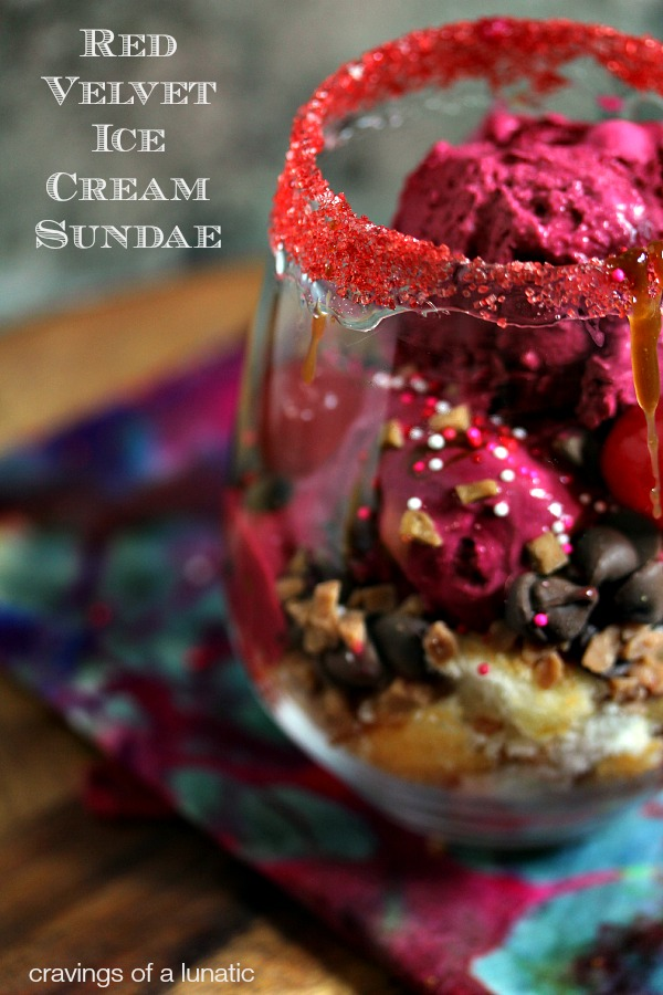 Red Velvet Ice Cream Sundae | Red Velvet Ice Cream made from scratch then turned into a red velvet ice cream sundae. It's sheer indulgence.