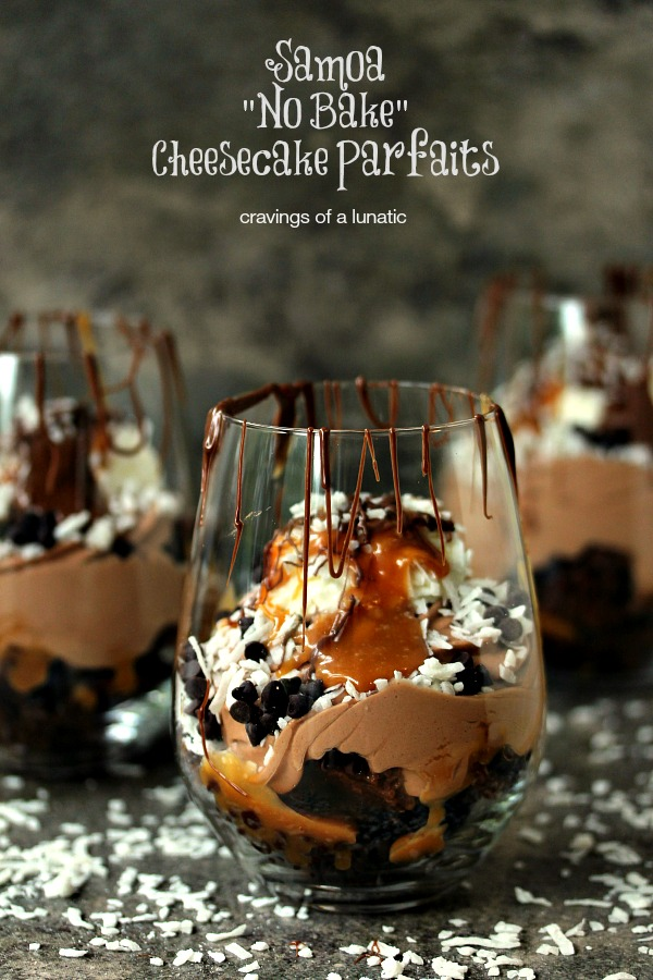 Samoa No Bake Cheesecake Parfaits | Layer upon layer of chocolate and coconut, these Samoa No Bake Cheesecake Parfaits will impress your guests.