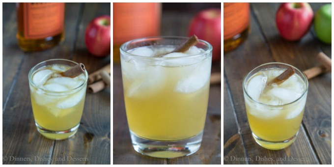 collage image featuring 3 photos of bourbon apple cider