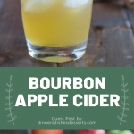 collage image featuring 2 photos of bourbon apple cider