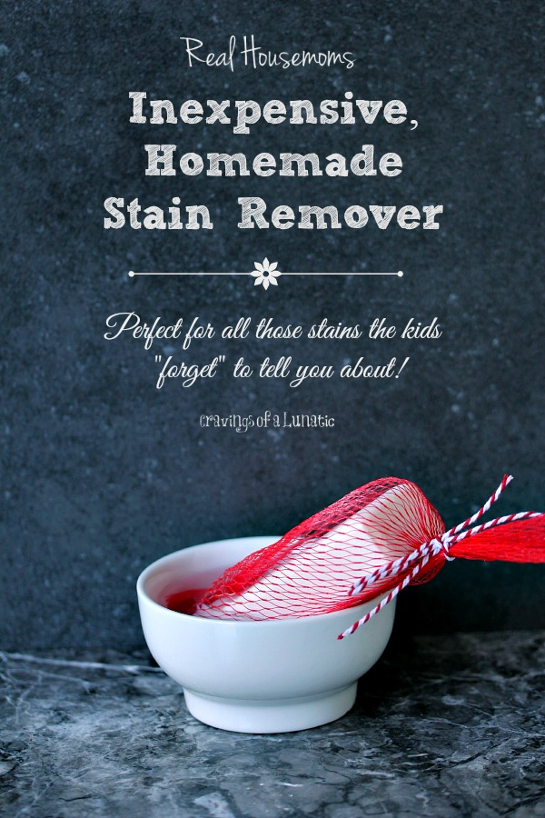 Homemade Stain Remover for Real Housemoms by Cravings of a Lunatic | This is a little trick I learned over 20 years ago, works like a charm for getting stains out of clothes. Plus it's wicked inexpensive. Ditch the brand names you pay big bucks for and try this instead.