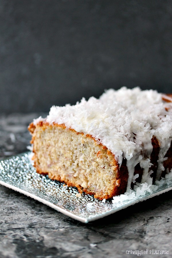 Banana Coconut Sweet Bread on a silver plate.