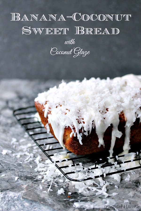 Banana Coconut Sweet Bread on a cooling rack.