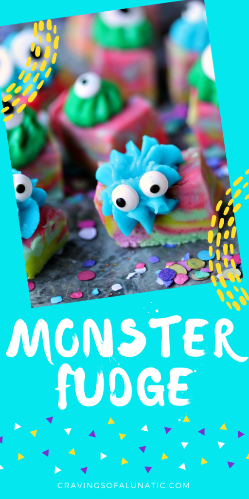 Easy monster fudge is a multi-coloured fudge cut into squares with icing on each piece and googly eyes.