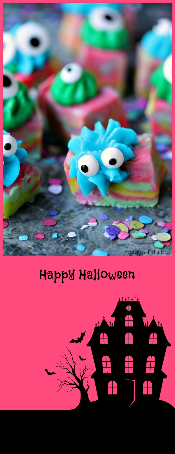 Halloween Monster Fudge from cravingsofalunatic.com- Easy microwave fudge swirled with fun colours, topped with icing and transformed into cute little monsters!