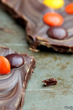 Peanut Butter and Chocolate Bark with Reese's Pieces: Food Fanatic