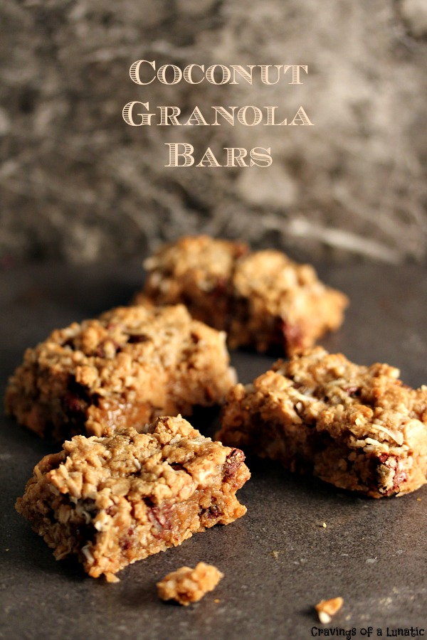 Coconut Granola Bars from cravingsofalunatic.com- Simple to make, and scrumptious to nosh on. These bars are packed with coconut and chocolate! Peanut butter gives them added taste. Enjoy! (@CravingsLunatic)