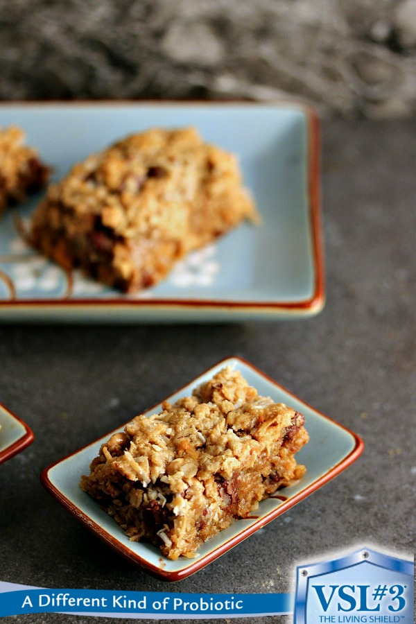 Coconut Granola Bars | Simple to make, and scrumptious to nosh on. These bars are packed with coconut and chocolate! Peanut butter gives them added taste. Enjoy!