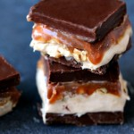 Homemade Snickers Cheesecake Bars