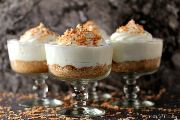 White Chocolate Coconut Cream Pie Parfaits | Easy to make parfait that combines white chocolate with coconut. Simple, elegant and absolutely scrumptious!White Chocolate Coconut Cream Pie Parfaits | Easy to make parfait that combines white chocolate with coconut. Simple, elegant and absolutely scrumptious!