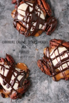 Chocolate Caramel Pecan Candies on a grey surface.