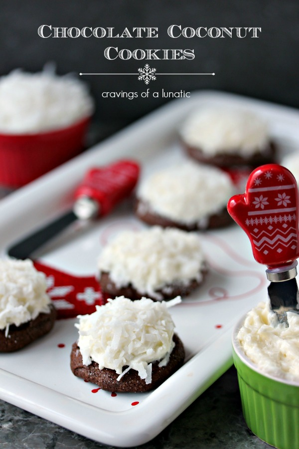 Chocolate Coconut Cookies | Chocolate coconut cookies filled with fluffy coconut cream cheese, and coconut garnish. Simple to make and utterly delicious to munch on.
