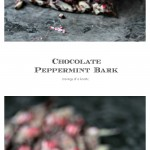 Chocolate Peppermint Bark collage image featuring two photos of the finished bark.