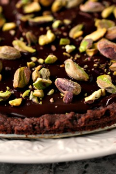 Chocolate Shortbread Wedges with Pistachios