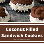 coconut filled sandwich cookies collage image