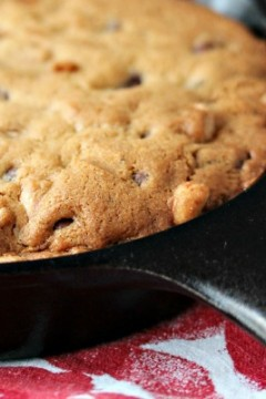 Peanut Butter and Chocolate Skillet Cookie