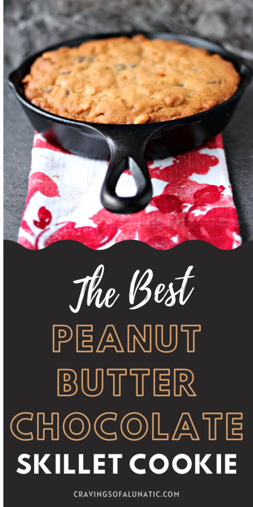 Peanut Butter and Chocolate Skillet Cookie on a red and white napkin
