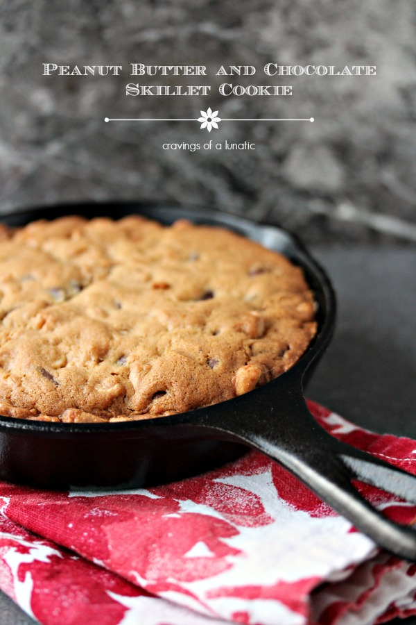 Chocolate Peanut Butter Cookie baked in a black cast iron pan