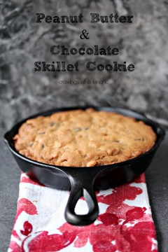 Chocolate Peanut Butter cookie baked in a black cast iron skillet.!