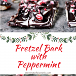 collage image of pretzel bark sprinkled with crushed mints