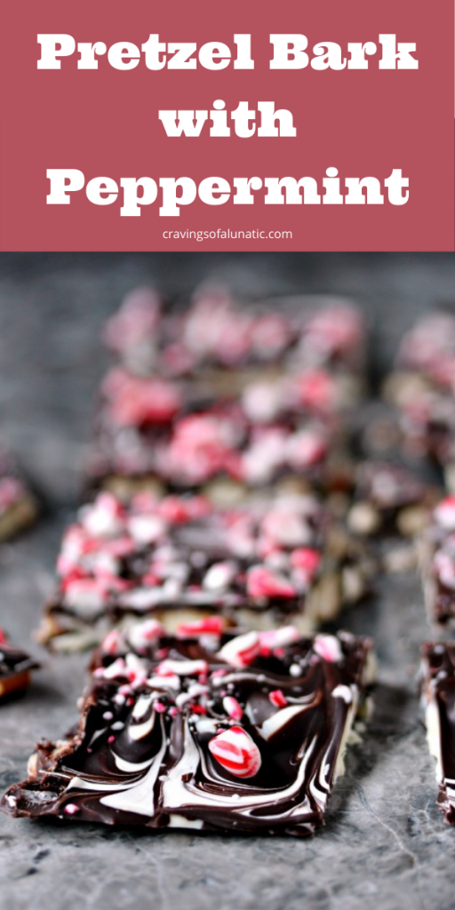 Pretzel Bark with Peppermint broken into pieces.