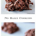 No Bake Coconut Macaroon Cookies pinterest collage image featuring two photos of the finished cookies on a light coloured counter.