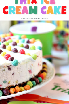 Trix ice cream cake served with party decorations all around