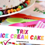 Trix ice cream cake collage image featuring two photos of the finished cake
