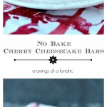 No Bake Cherry Cheesecake Bars sliced for serving!