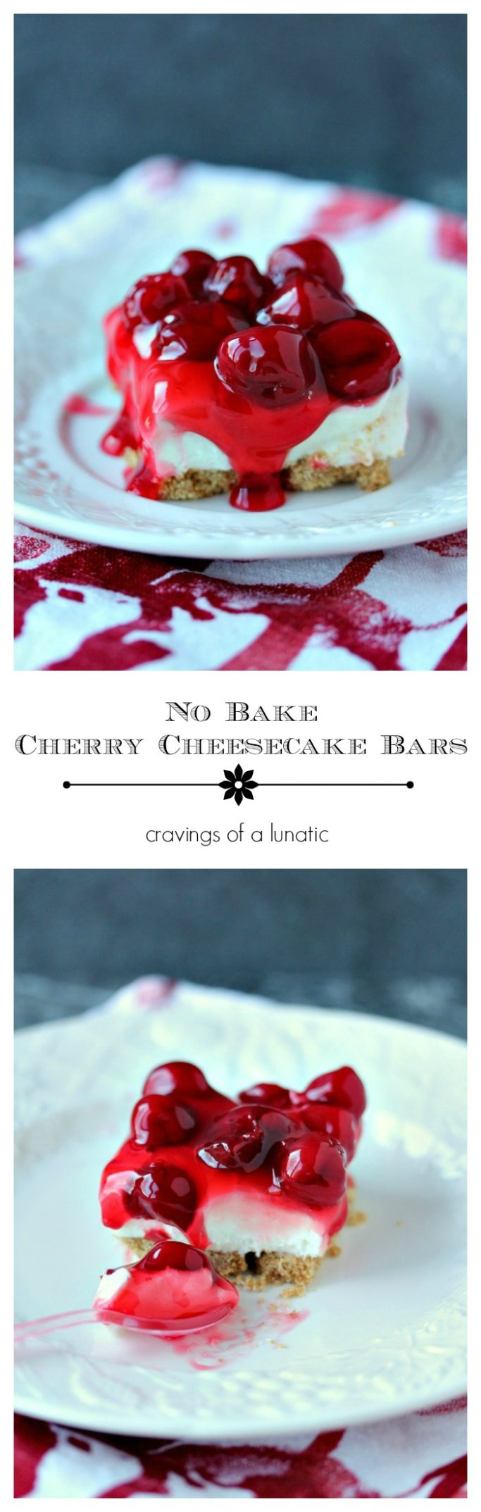 No Bake Cherry Cheesecake Bars- These no bake cherry cheesecake bars are sure to be a hit with family and friends. Whip up a batch today!