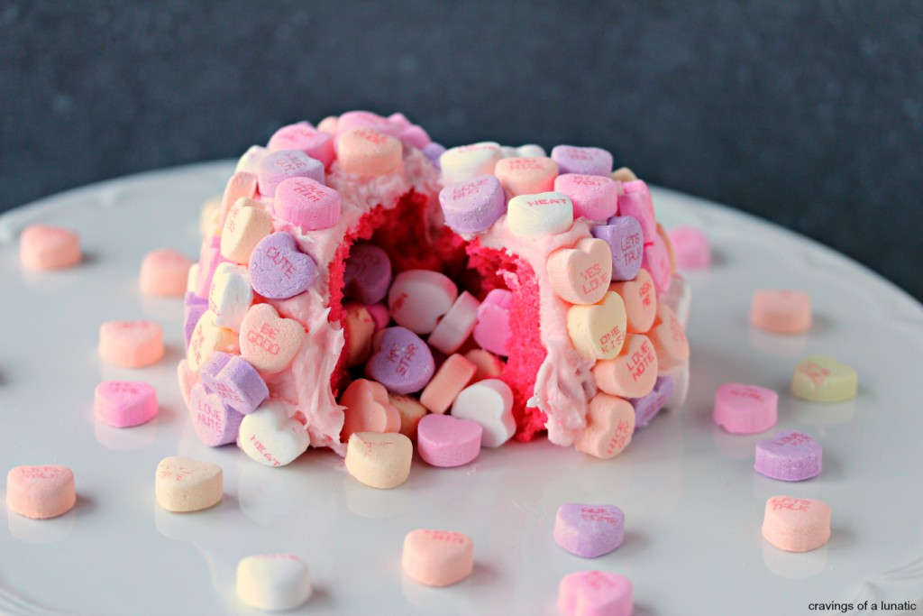 Conversation Heart Cakelettes | cravingsofalunatic.com | These Pink Velvet Cakelettes with Pink Cream Cheese Frosting are perfectly easy to make. Bake them to celebrate any special occasion with your famiglia and friends.
